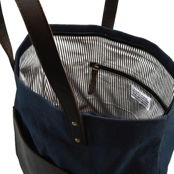 Modro-černá kožená vintage maxi taška O My Bag Lou's