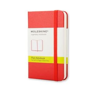 Červený zápisník Moleskine XS, bez linek