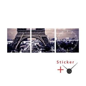 Samolepící hodiny Eiffel Tower, 40x120 cm