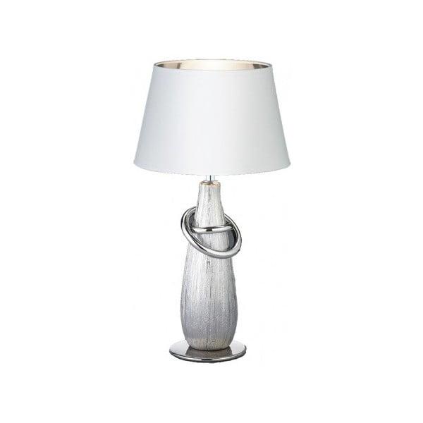 Biela stolová lampa z keramiky a tkaniny Trio Thebes, výška 38 cm