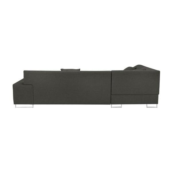 Tmavě šedá rohová rozkládací pohovka s nohami ve stříbrné barvě Cosmopolitan Design Orlando, pravý roh