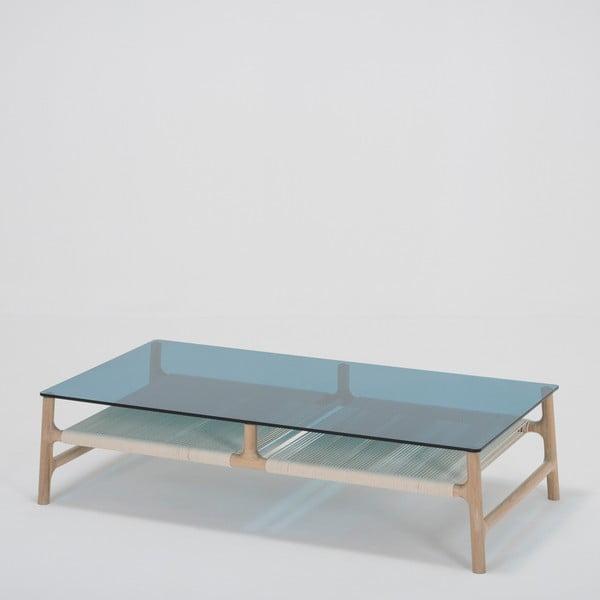 Fawn dohányzóasztal tömör tölgyfa lábakkal és olajkék asztallappal, szélesség 120 cm - Gazzda