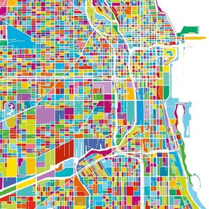Tablou Homemania Maps Chicago, 60 x 60 cm
