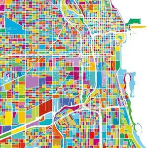 Obraz Homemania Maps Chicago, 60x60cm