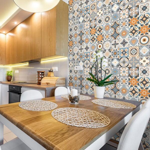 Sada 30 nástěnných samolepek Ambiance Wall Stickers Cement Tiles Azulejos Montecinos, 15 x 15 cm