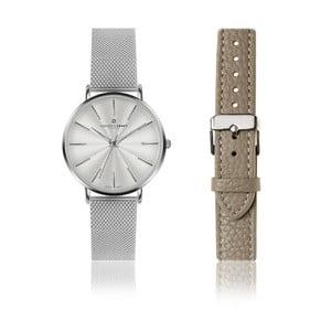 Set dámských hodinek z nerezové oceli a šedého pásku z pravé kůže Frederic Graff Monte