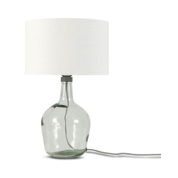 Stolová lampa s bielym tienidlom a konštrukciou z recyklovaného skla Good&Mojo Murano, ⌀ 30 cm