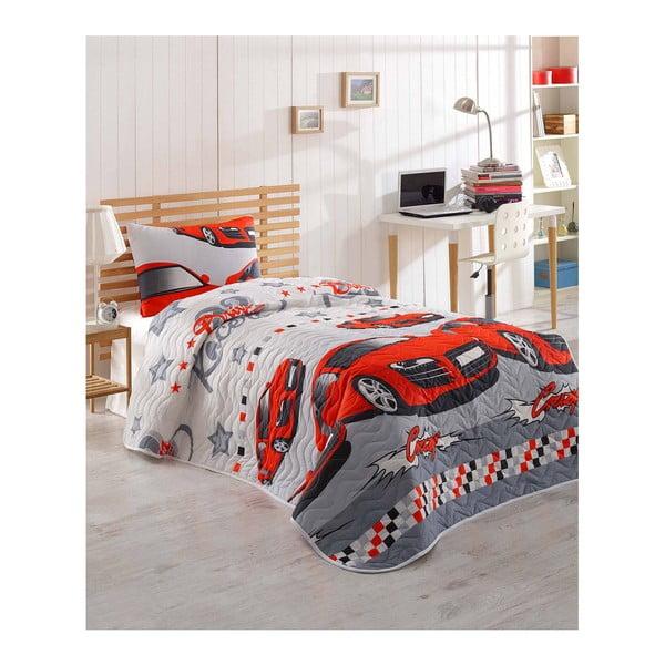 Set přehozu přes postel a povlaku na polštář s příměsí bavlny Crazy Red, 160 x 220 cm