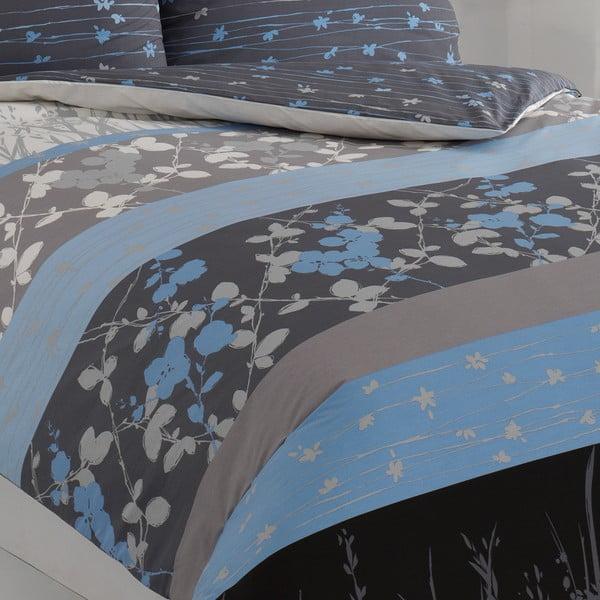 Povlečení s polštářem Elvira Blue, na jednolůžko, 135x200 cm