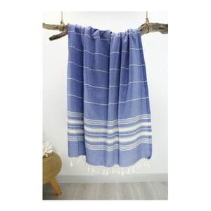 Modrá osuška z čisté bavlny Hammam Yenge Style, 90 x  180 cm