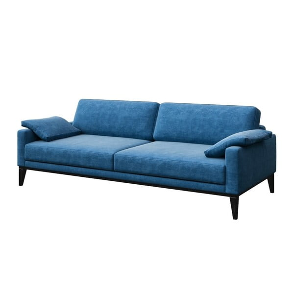Modrá trojmístná pohovka s dřevěnými nohami MESONICA Musso Regular