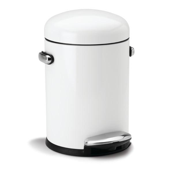Bílý pedálový koš simplehuman Retro, 4.5 l