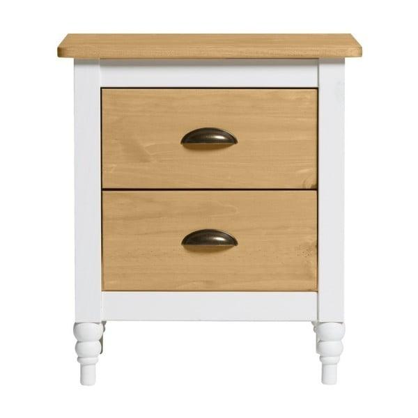 Biała szafka nocna z litego drewna sosnowego z 2 szufladami Marckeric Iryna