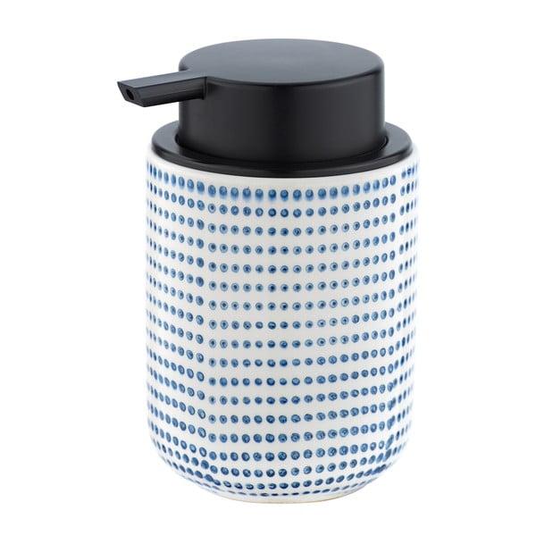 Dozator ceramică pentru săpun Wenko Nole, 300ml, decor alb - albastru