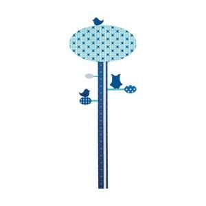 Dětský modrý nástěnný metr Sebra Blue Tree, až do výšky 130 cm