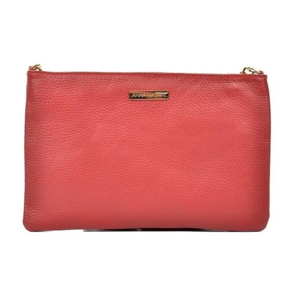 Červená kožená kabelka Anna Luchini Kate
