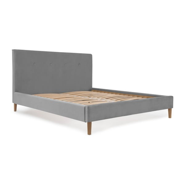 Tmavě šedá postel s přírodními nohami Vivonita Kent,140x200cm