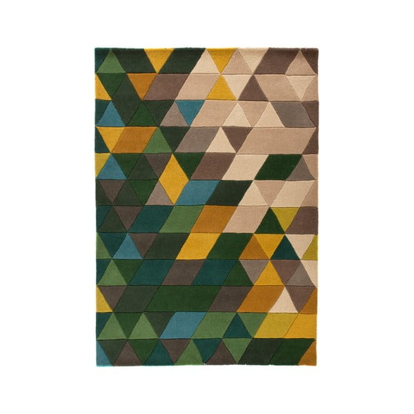 Vlněný koberec Flair Rugs Illusion Prism Green Triangles, 80 x 150 cm