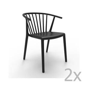 Sada 2 černých jídelních židlí Resol Woody