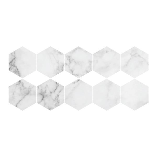 Set 10 autocolante impermeabile și anti-alunecare pentru podea Ambiance Hexagon