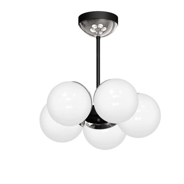 Lustră cu detalii argintii Sphere Cinco, negru