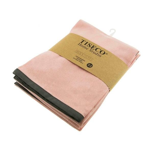 3 db rózsaszín pamut konyharuha, 50 x 70 cm - Tiseco Home Studio