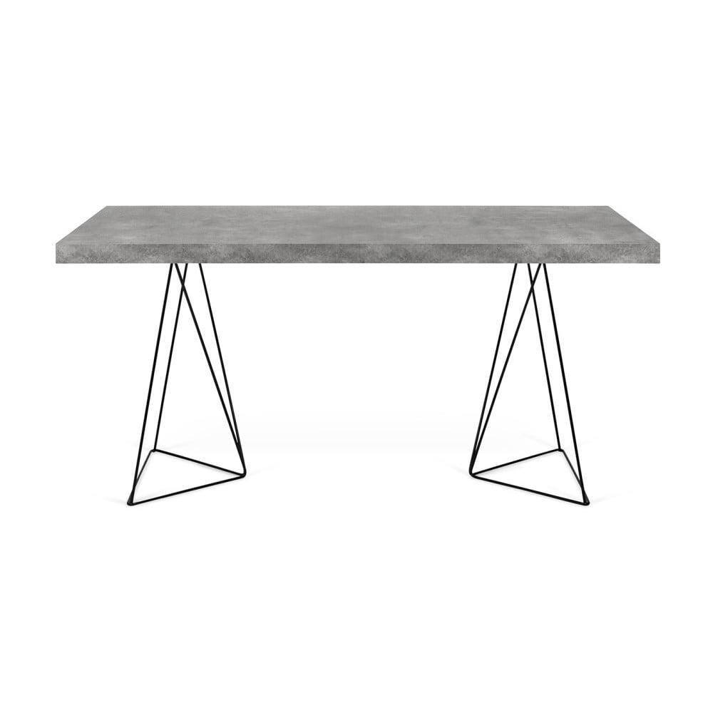 Jídelní stůl v dekoru betonu s černým podnožím TemaHome Multi