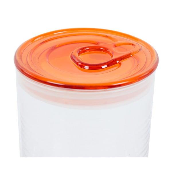 Skleněná dóza s oranžovým víkem Kaleidos Can, 10,5x16cm