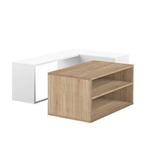 Dvojdílný bílý konferenční stolek s detailem v dekoru dubového dřeva Symbiosis Angle
