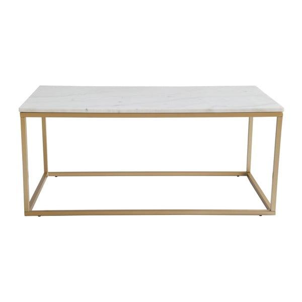 Konferenčný stolík s bielou mramorovou doskou a podnožou v zlatej farbe RGE Accent