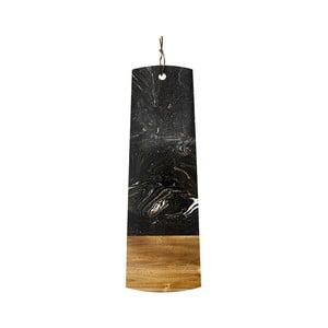 Černé servírovací prkénko z kamene a dřeva akácie Ladelle, délka60cm