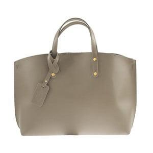 Šedobéžová kožená kabelka Chicca Borse City