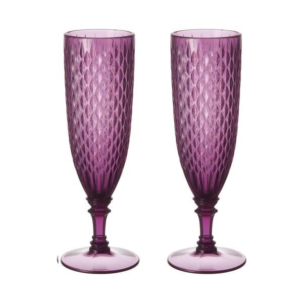 Set fialových sklenic na šampaňské, 2 ks