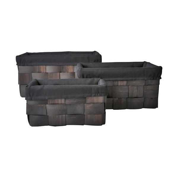 Set tří košíků 20x42x28 cm, tmavé