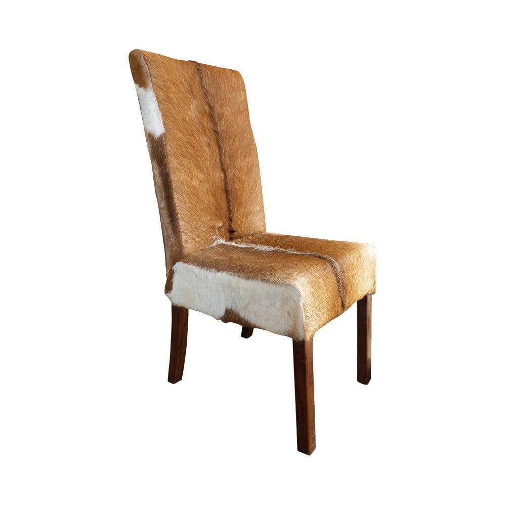 Židle z teakového dřeva a kozí kůže Orchidea Milano Aspen
