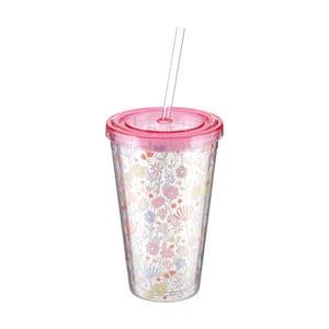 Světle růžový kelímek s brčkem Premier Housewares Casey,450ml