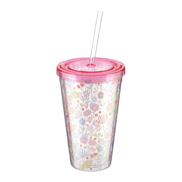 Różowy kubek ze słomką Premier Housewares Casey,450ml