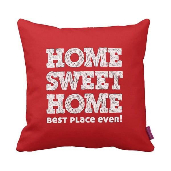 Červenobílý polštář Home Red, 43x43cm