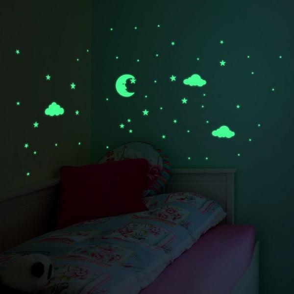 Autocolant fosforescent pentru perete Ambiance Moon and Clouds