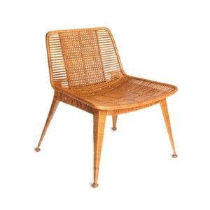 Medově hnědá židle s výpletem z ratanu Simla Ratan