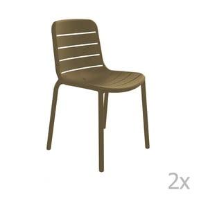 Sada 2 hnědých zahradních židlí Resol Gina
