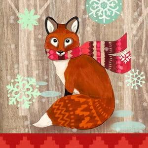 Balení 10 papírových ubrousků s vánočním motivem PPD Fox With Scarf