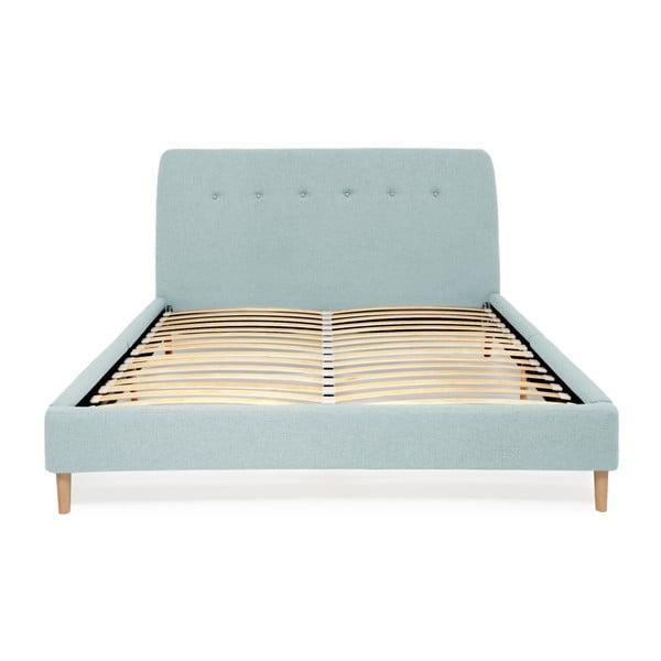 Tyrkysová dvoulůžková postel s dřevěnými nohami Vivonita Mae, 140 x 200 cm