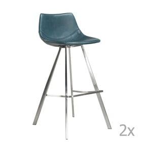 Set 2 scaune bar cu bază de oțel DAN-FORM Pitch, albastru