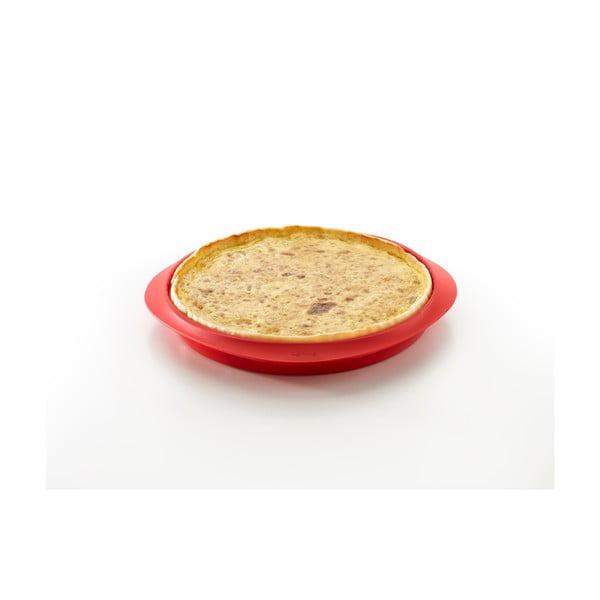 Červená silikonová forma s keramickým talířem na quiche Lékué, ⌀ 28 cm