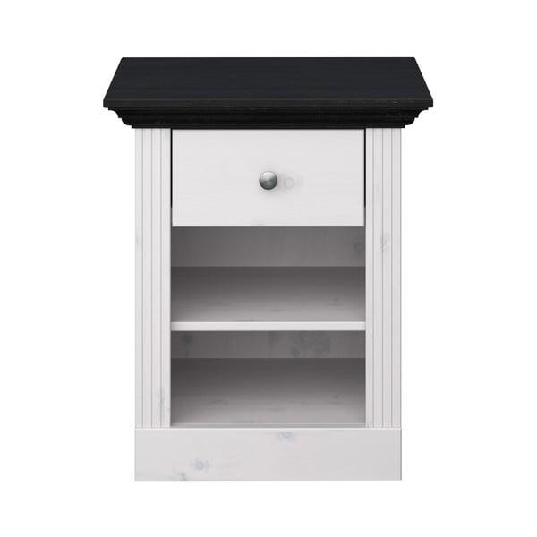 Biely nočný stolík z borovicového dreva s čiernou doskou Steens Monaco