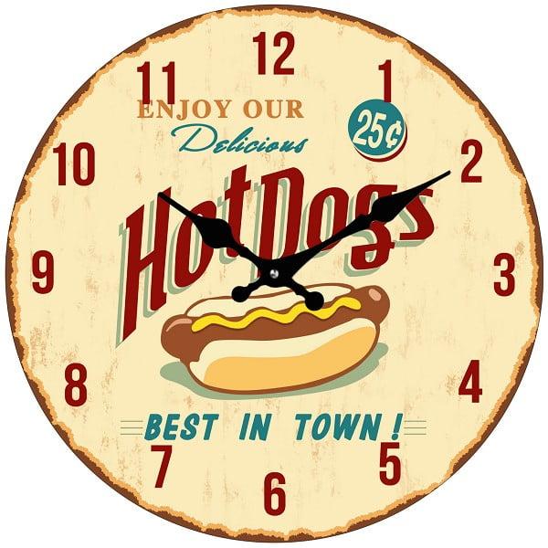 Skleněné hodiny Hot Dog, 34 cm
