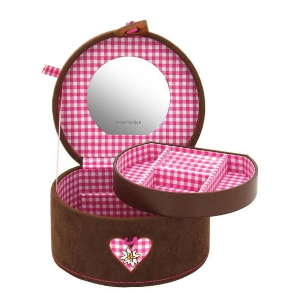 Šperkovnice Bagvaria Brown/Pink, 15,5x14x10 cm
