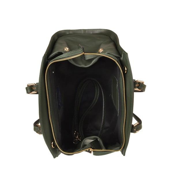 Kožená kabelka Aston, tmavě zelená