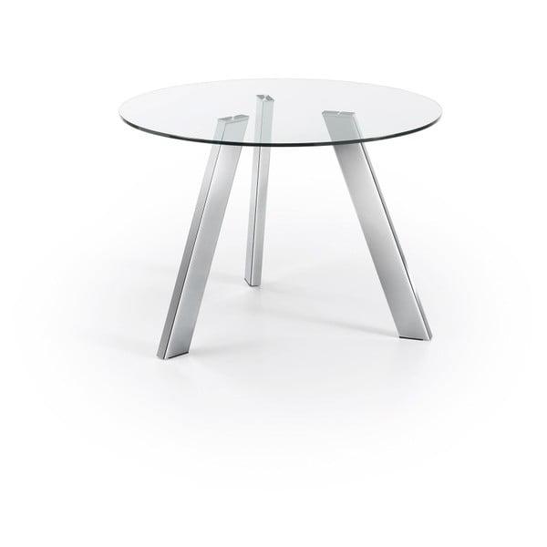 Jídelní stůl s nohami v barvě chromu La Forma Columbia, průměr 110 cm
